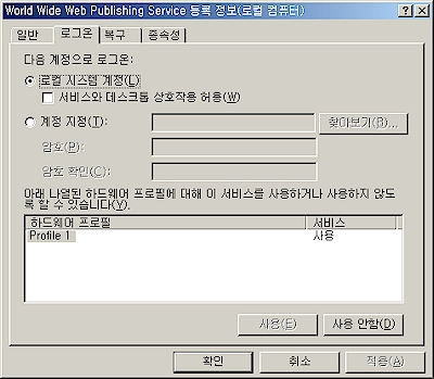 World Wide Web Publishing Service 로그온 정보