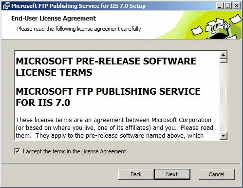 FTP7 설치 마법사 : End-User License Agreement