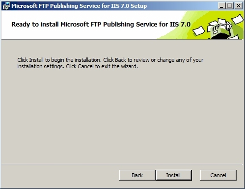 FTP7 설치 마법사 : Ready to install Microsoft FTP Publishing Service for IIS 7.0
