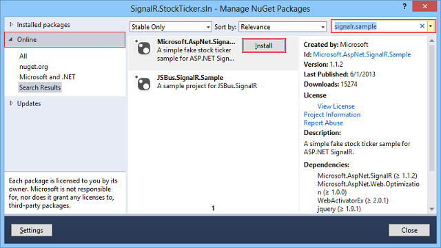 Install SignalR.Sample package