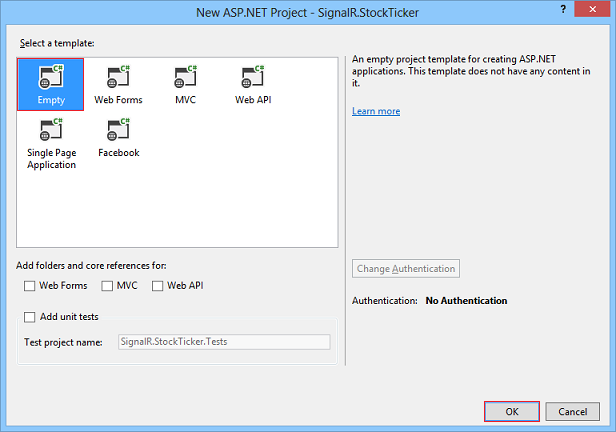 New ASP Project dialog box