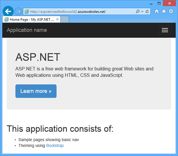 Home page in Azure
