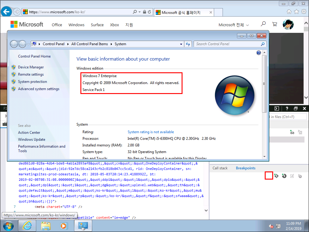 Windows 7 Enterprise - IE11 - 중단점 탭